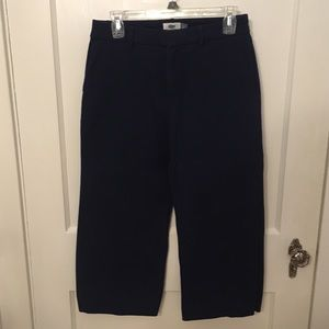 Navy blue wide leg cropped pant
